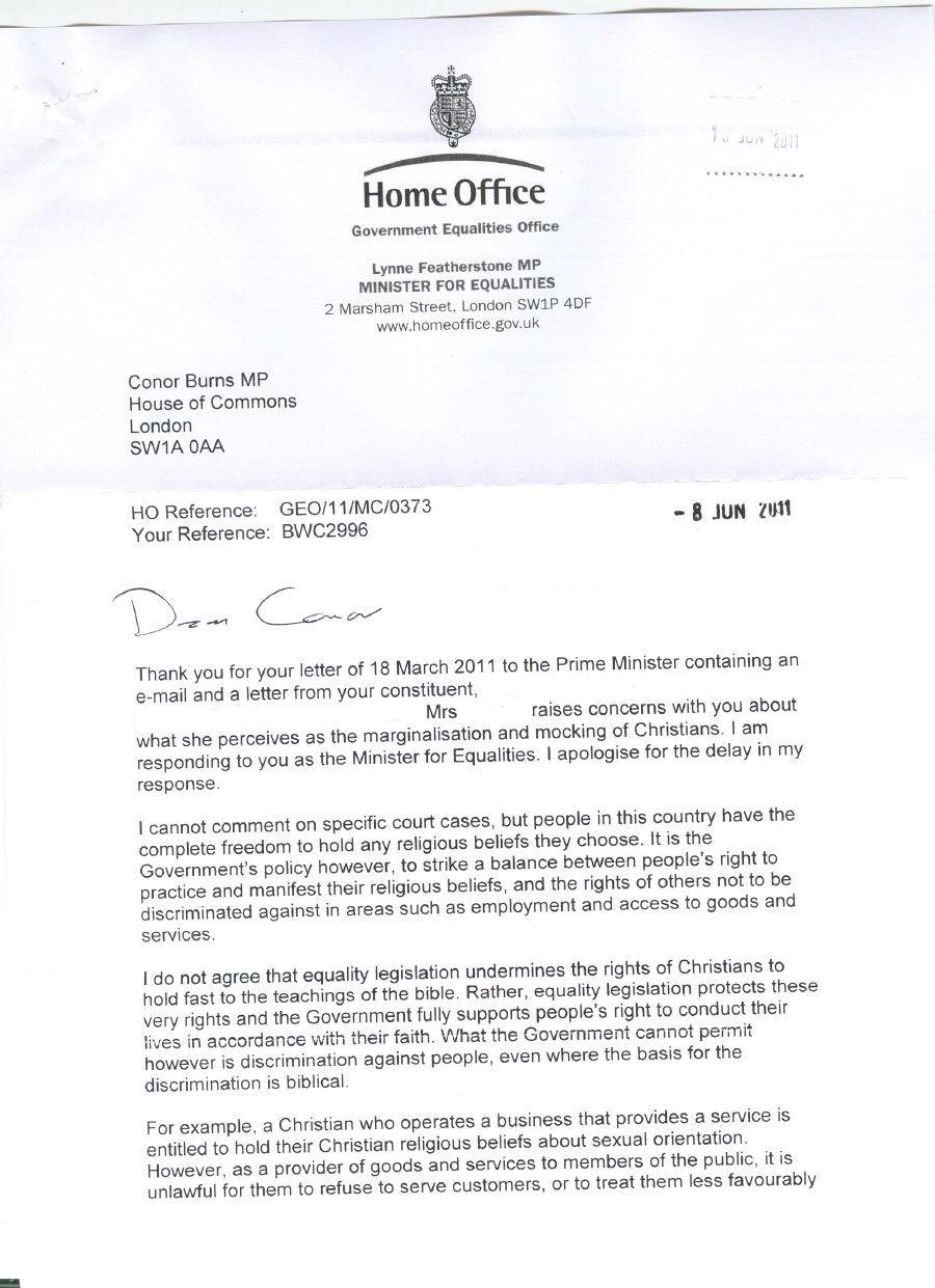 Lynne Featherstone MP States UK Government Legislation