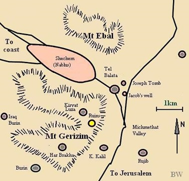 Map of Mount Ebal and Mount Gerizim