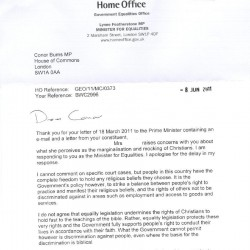 Letter from Lynne Featherstone 8 June 2011