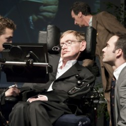 Stephen Hawkins with aides
